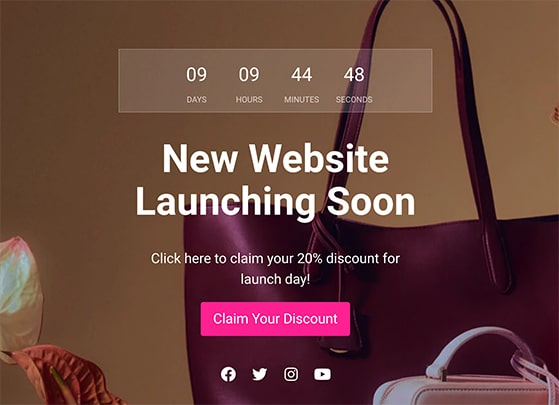 coming soon page discount