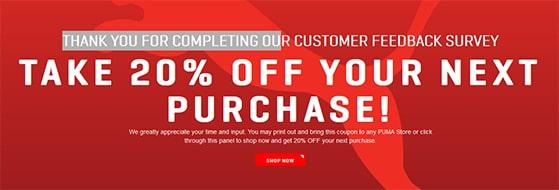 Puma customer feedback survey with 20% discount