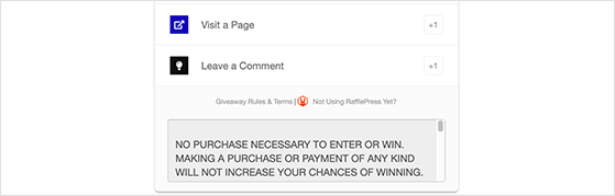 Giveaway rules in giveaway widget