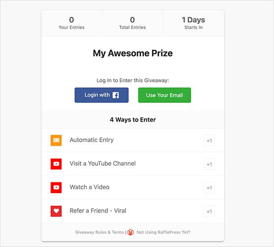 RafflePress YouTube giveaway actions