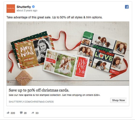 Shutterfly retargeting ad with discount