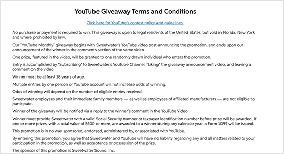 Sweetwater YouTube giveaway rules