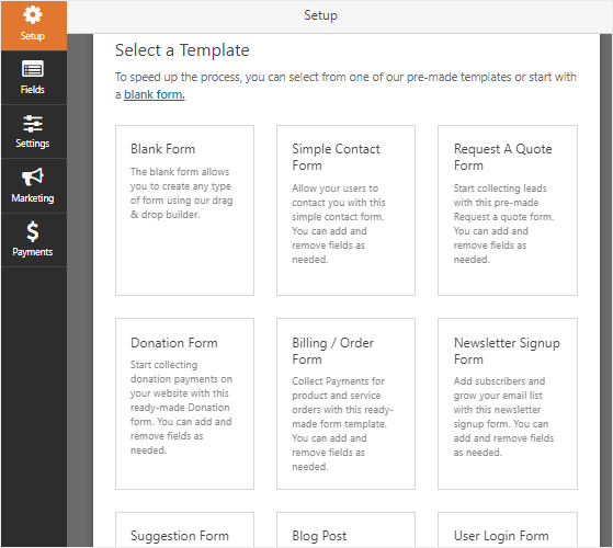 WPForms includes tons of form templates