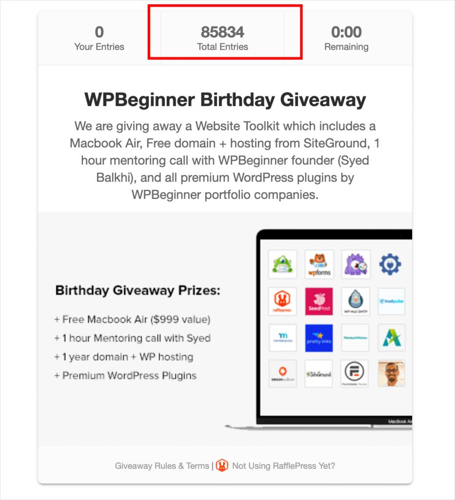 WPBeginner RafflePress birthday giveaway