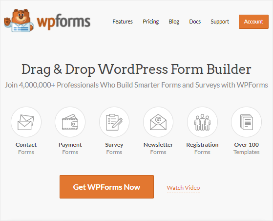 WPForms Homepage review