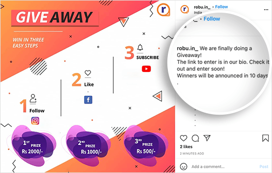 add your giveaway landing page link to your Instagram bio to promote your Instagram contest