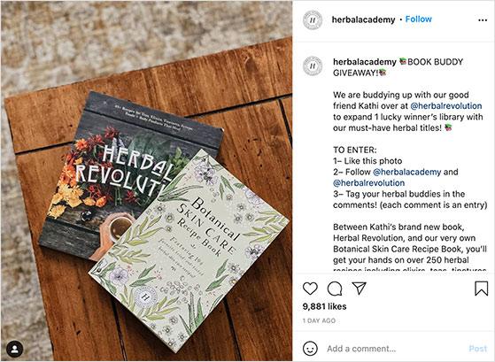 Instagram book giveaway example