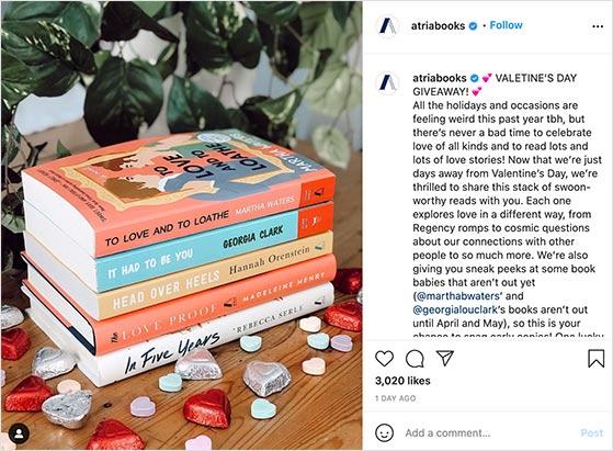 Valentine's instagram book giveaway example