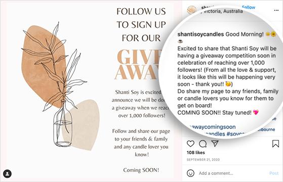 Instagram giveaway teaser promotion post