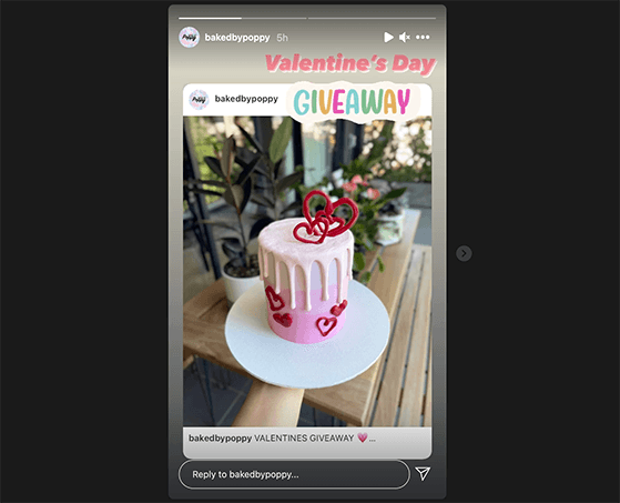 Use Instagram stories to promote your Instagram giveaway to a wider audience