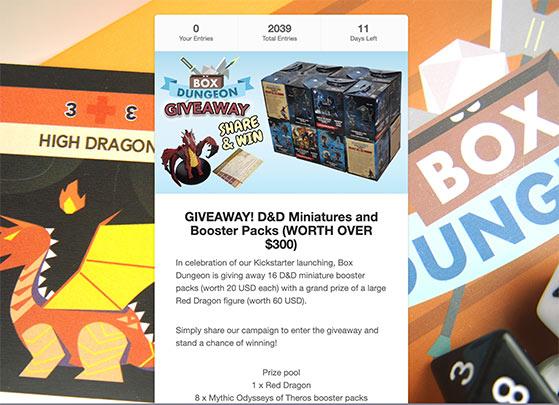 Kickstarter giveaway landing page example