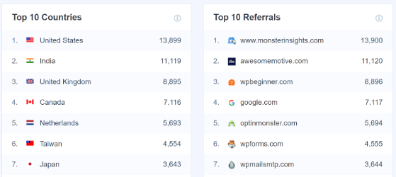 MonsterInsights top countries and top referrals report
