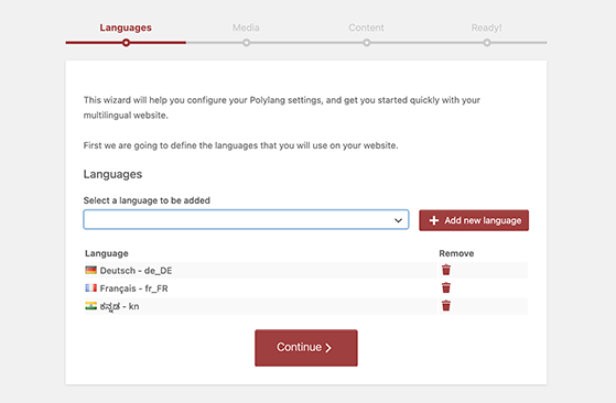 Add new languages in polylang