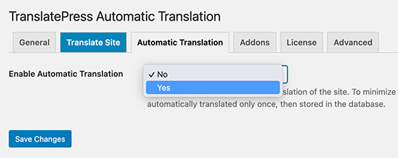 Enable automatic website translations