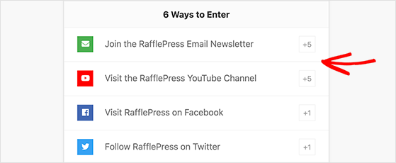 Giveaway action values in RafflePress