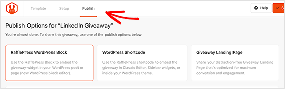 Choose an option for publishing your linkedin contest