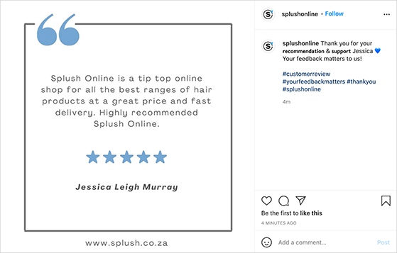 Share customer reviews on Instagram to get more followers