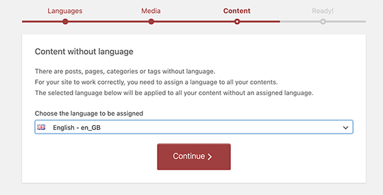 Add a default language for your website