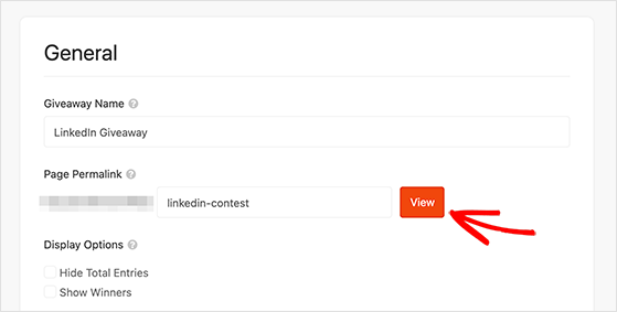 Enter the permalink for your linkedin contest landing page