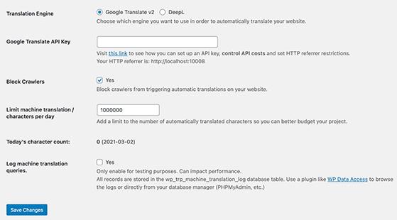 Google translate settings