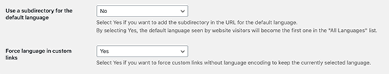 Show subdirectory for native language