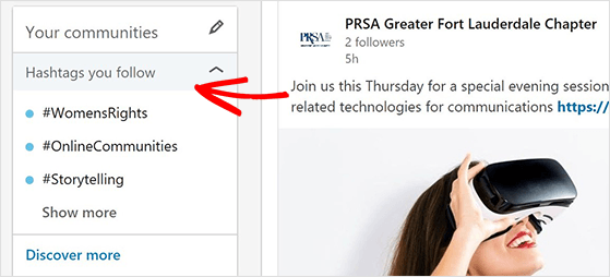 Find relevant hashtags in the LinkedIn Communities Hashtag panel to get more LinkedIn Followers