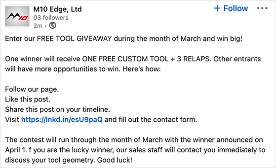 Choose a prize for your linkedin competition