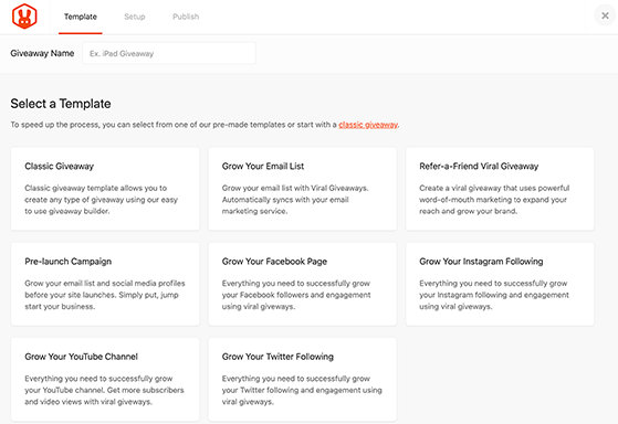 RafflePress giveaway templates