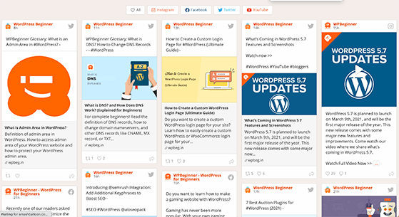 social wall feed: free content for website