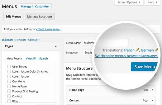 Translate your WordPress navigation menus