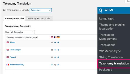 WPML taxonomy translations for categories