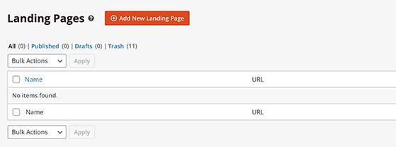Add a new landing page to WordPress
