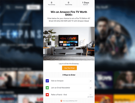 refer a friend giveaway landing page with rafflepress
