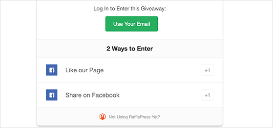 Facebook like and share giveaway entry actions