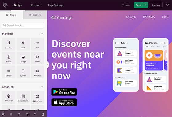 SeedProd's drag and drop editor includes landing page blocks and a live preview