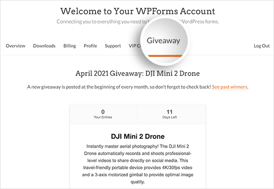 WPForms monthly giveaway with RafflePress