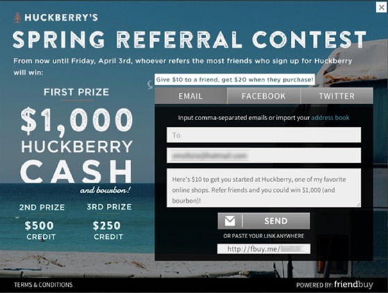 Huckberry's refer a friend contest