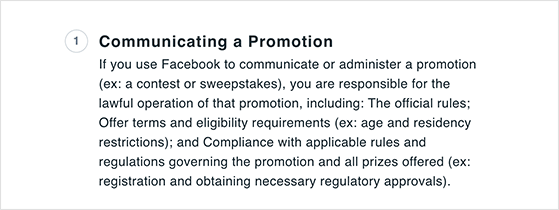Facebook contest rules for communicating a promotion