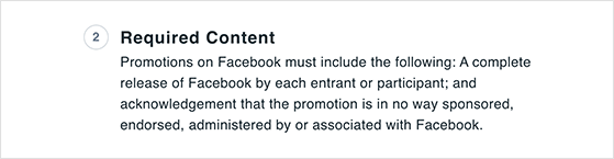 Facebook contest rules on required content