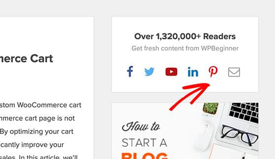 Add a pinterest follow button to your website