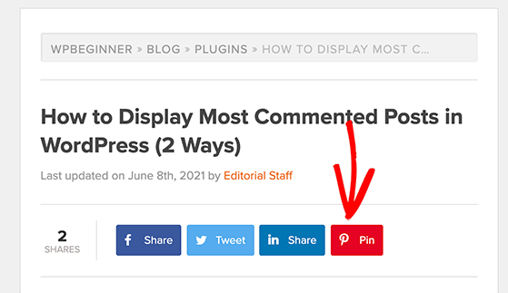 Add a pinterest share button to your website to get followers on Pinterest