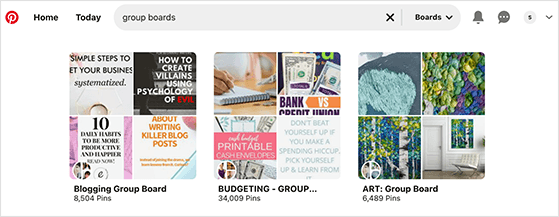Look for relevant group boards to join to get followers on Pinterest