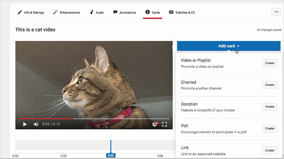 Add cards to videos to get more youtube likes