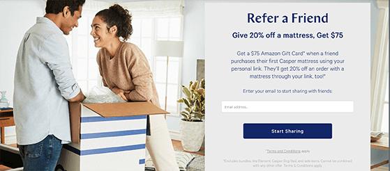 Casper give-to-get referral marketing idea