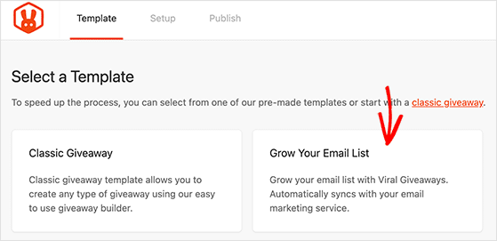 RafflePress grow your email list giveaway template
