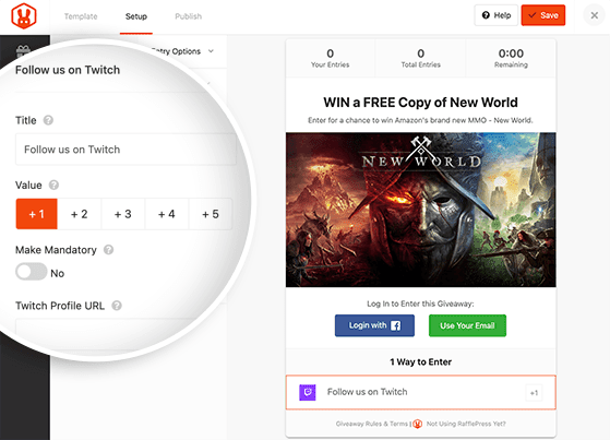RafflePress follow on Twitch giveaway action