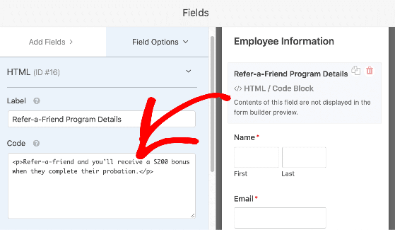 WPForms refer a friend form