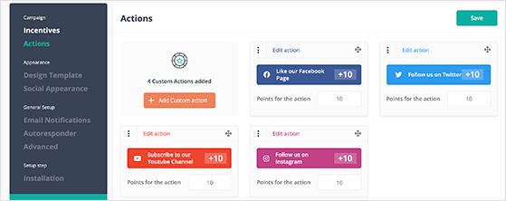 UpViral giveaway entry actions