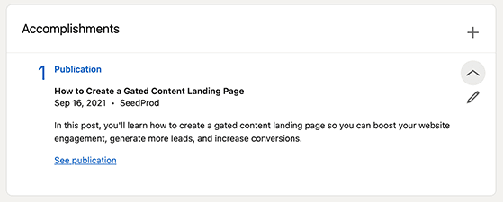 You can promote a blog on LinkedIn with the publications section